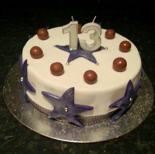 Cath R made a fantastic purple star 13th birthday cake recently, her first as a volunteer for us. Fab!.jpg