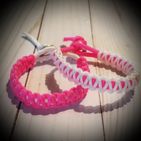Breast Cancer Set of 2 Paracord Netting Bracelets/Anklets