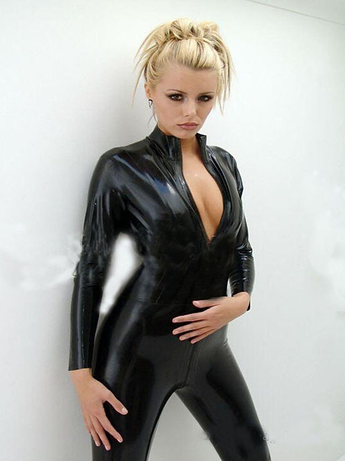 Black PVC Zip Catsuit
