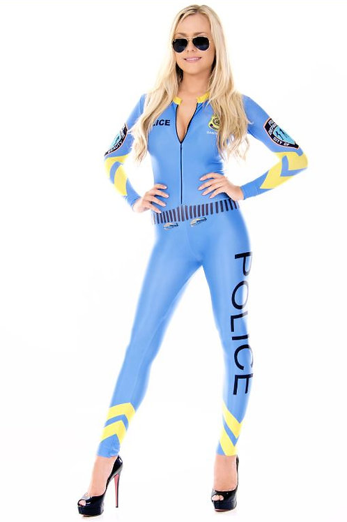 Blue Police Catsuit