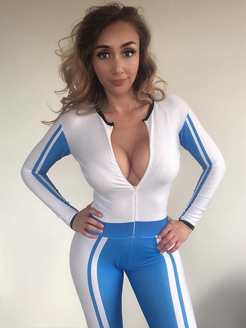 Grid Girl Catsuit Zip - Veem Blue
