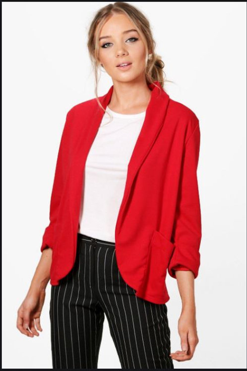 Relaxed Red Pocket Blazer With Wide Cuff UK8