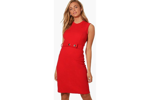 Fitted Red Midi Dress UK8