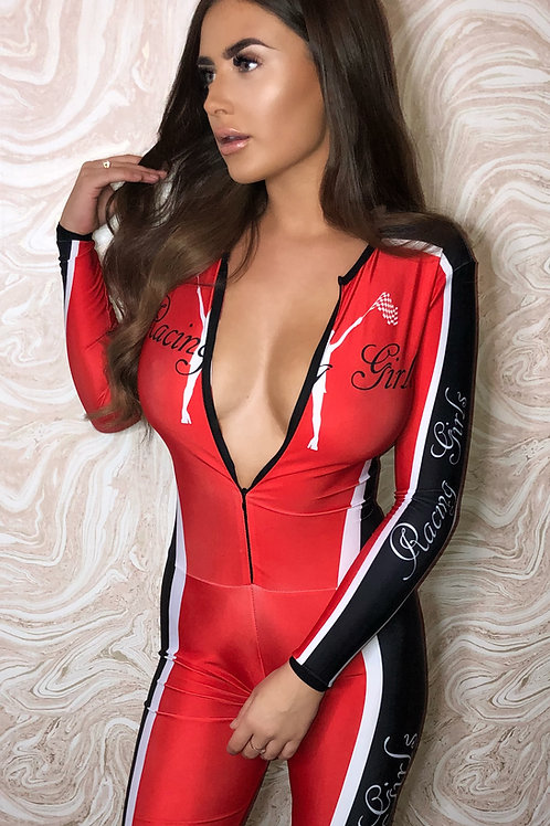 Grid Girl Catsuit - Red Racing Girls +