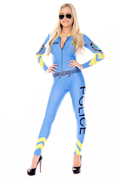Grid Girl Catsuit - 1/4 Zip - Blue Police Girl