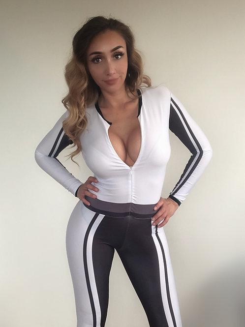 Grid Girl Catsuit  Zip - Veem Black