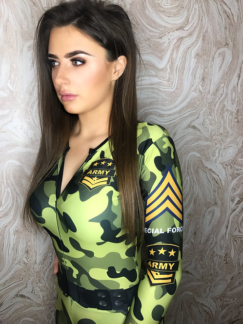 Grid Girl Catsuit  Zip - Army