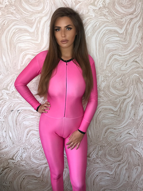 Pink Grid Girl Catsuit - Full Zip