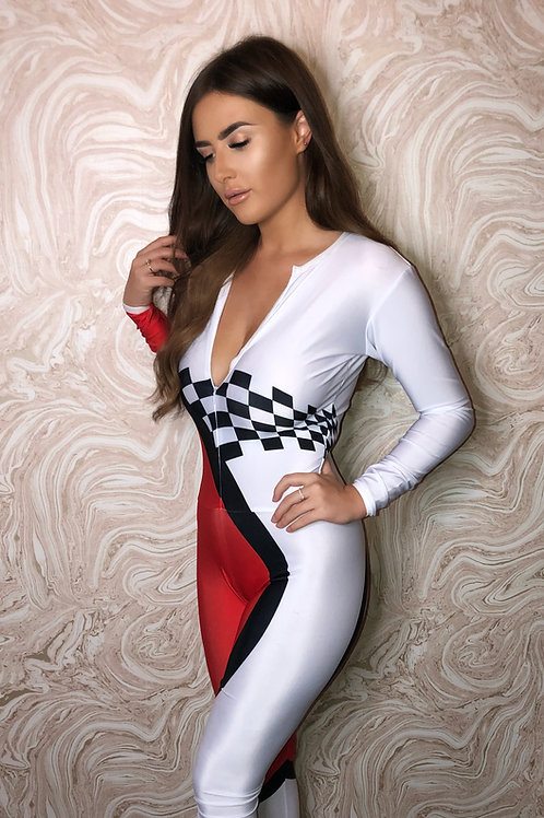 Grid Girl Catsuit - Zip - Red Champ Racing