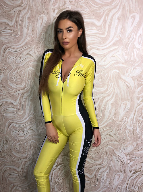 Grid Girl Catsuit - Zip - Yellow Racing Girls