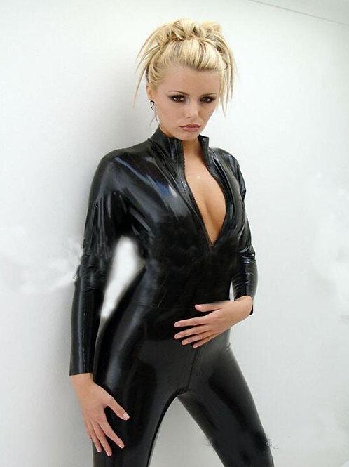 Black PVC Zip Catsuit