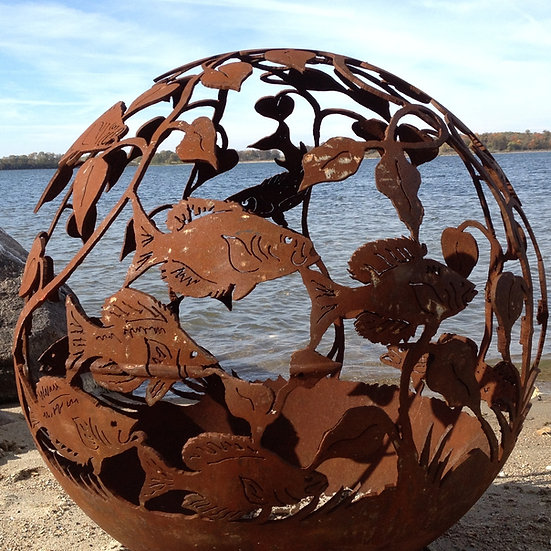 FISH FIREBALL FIRE PIT-Fire Pit Sphere Fire globe fire ball