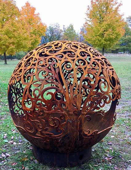 Tree Of Life Fireball Fire Pit -Fire Pit Sphere Fire globe