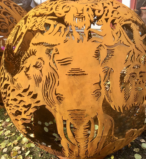 Circle Of Life - Animal Tree Of Life - Fireball Fire Pit -Fire Pit Sphere globe