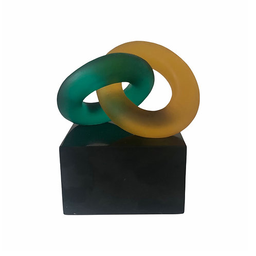Eternal Bond Amber and Emerald on Black Marble
