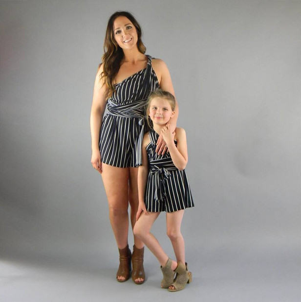 mom and me striped romper gray backdrop.