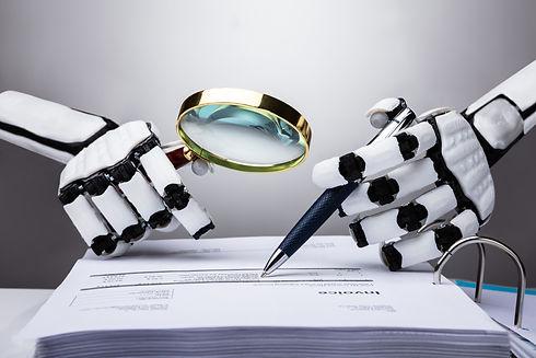 Photo Of Robot Examining Invoice With Ma
