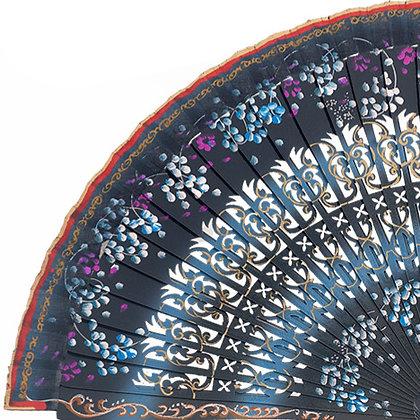 Abanico Floral Blue 23 cm