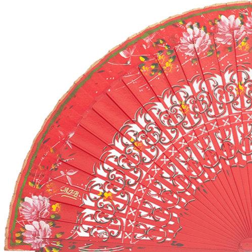 Abanico Floral Red 23 cm