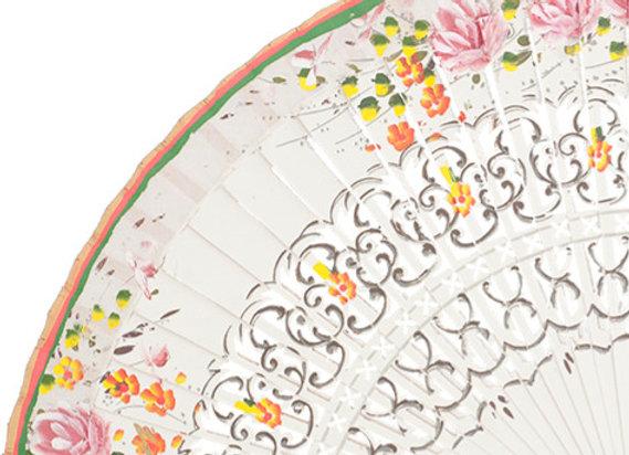 Abanico Floral White 23 cm