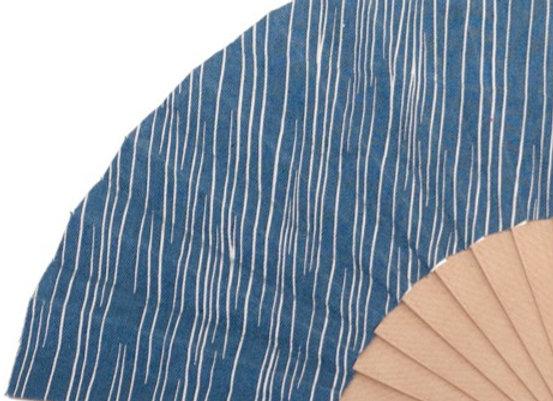 Abanico Abedul Liso Blue 23 cm