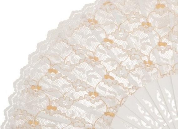 Abanico Exclusivo Boda White 23 cm
