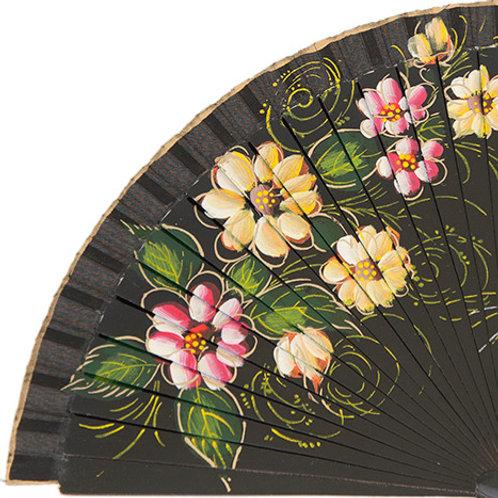 Abanico Floral Black 23 cm