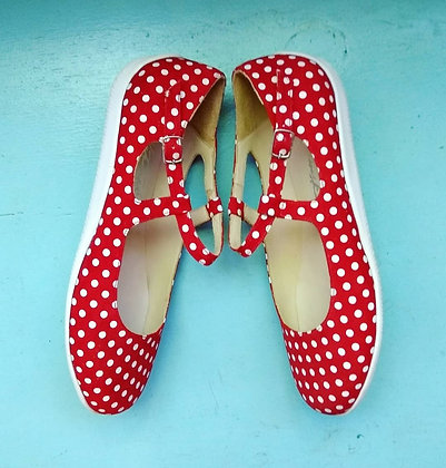Katrinski Flats Red Polka Dots