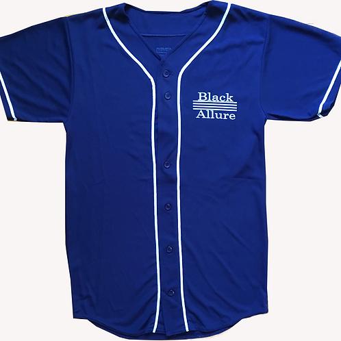 Youth Black Allure Baseball Jersey Navy Blue