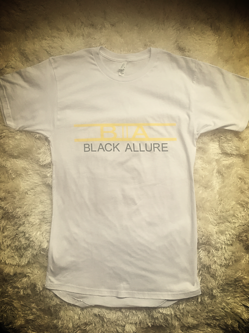 White Retro Long T-shirt Yellow