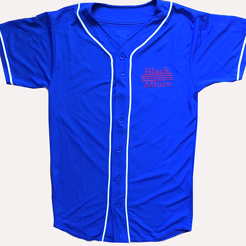 Youth Black Allure Baseball Jersey Royal