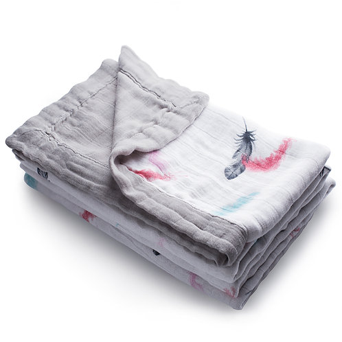 Silky Feathers - 4 Layer Bamboo Muslin Blanket