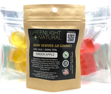 Hemp Derived Delta 8 Gummies 25MG Each - 8 Per Pack