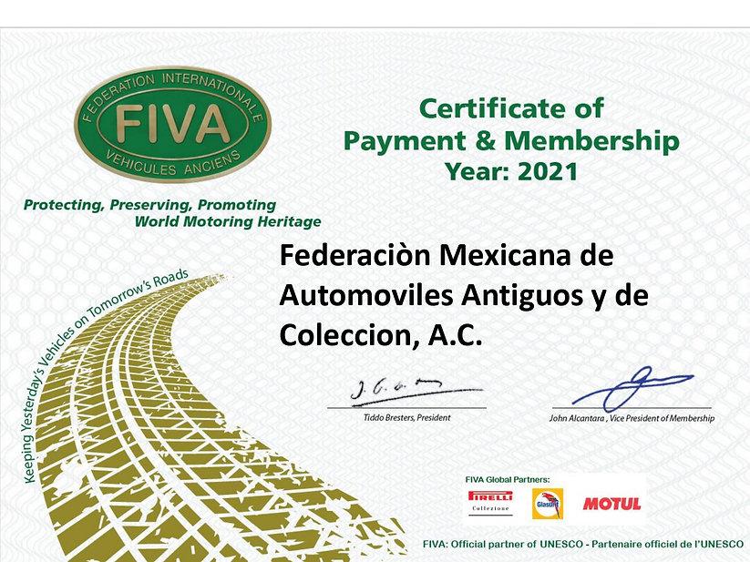 Membership certificate 2021 FMAAC MEXICO
