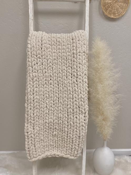 Oatmeal Hand Knit Chenille Blanket