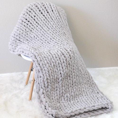Hand Knit Chenille Blanket