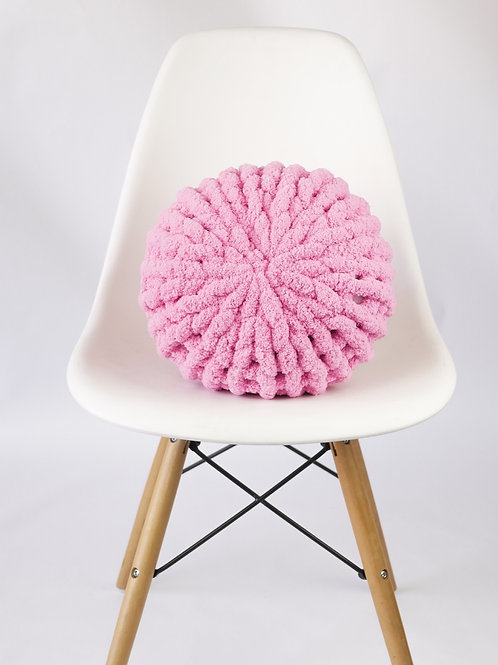 Hand Knit Chenille Poof Pillow