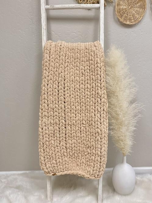 Sand Hand Knit Chenille Blanket