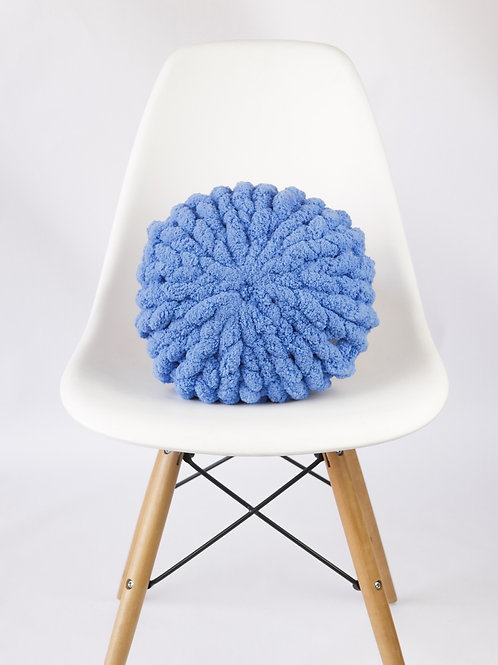 Country Blue Poof Pillow