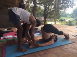 Yoga adustment Halasana
