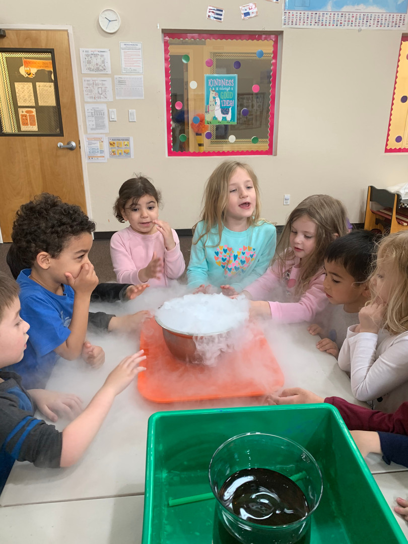 Children conducting a fun and educational science project in the daycare library