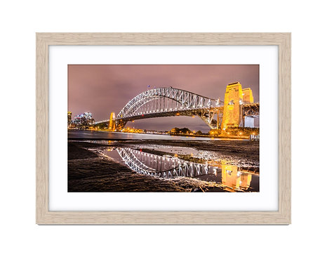 Sydney Harbour Reflection - Wooden Frame Raw