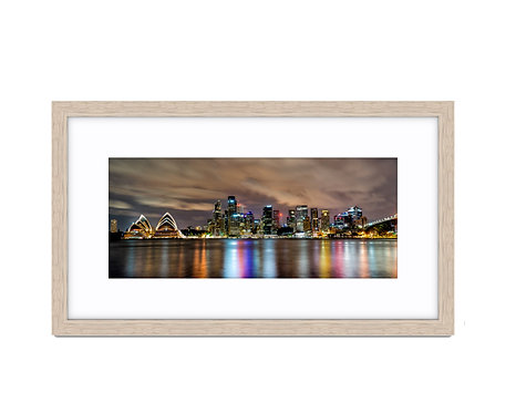 Sydney CBD Night View - Wooden Frame Raw