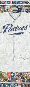 """PADRES Jersey  Full size reproduction of a San Diego Padres jersey, made entirely from original Padres baseball cards (the white of the jersey is the backs of cards, not all Padres)  42""""x48"""""""