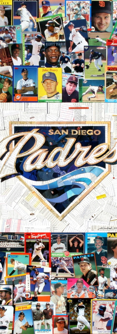 "Logo made entirely with original San Diego Padres baseball cards   32""x32"""
