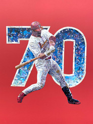 """Mark McGwire  To commemorate one of the great accomplishments in baseball history, as well as one of the most exciting seasons ever, I created this piece.  Made entirely from original baseball cards on a red matboard, this piece is filled with amazing detail. People will say what they say about the 1998 season, the home run chase, and steroids, but it was truly one of the greatest times in baseball, and will likely never be matched.   32""""x40"""""""