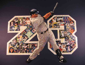 "Phil Nevin  Retirement gift (from his wife) made entirely with cards from his career.  From his minor league card to cards celebrating his career.  On dark blue matt board.  Amazing detail (hope to update to a better quality pic soon). 32""x40"""