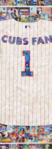 """#1 CUBS FAN  Full size jersey reproduction, made entirely with original Chicago Cubs baseball cards (yes, even the pinstripes)  Cards from the 1950's through current players.  Fantastic piece.  42'x48""""."""