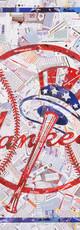 Classic Yankees logo.  Made with original baseball cards, various teams