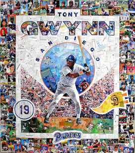 "TONY GWYNN    I created this piece entirely with original baseball cards from the San Diego Padres, including many Tony Gwynn cards, and cards of his team mates throughout his Hall of Fame career.  It was used extensively during Gwynn's retirement festivites, being shown at many events, including shows at the ballpark, and was also used as a full page cover for the San Diego Union tribune news paper.  42""x48"""